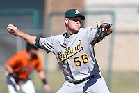 Oakland Athletics pitcher Corey Miller (56) during an Instructional League game against the San Francisco Giants on October 13, 2014 at Giants Baseball Complex in Scottsdale, Arizona.  (Mike Janes/Four Seam Images)