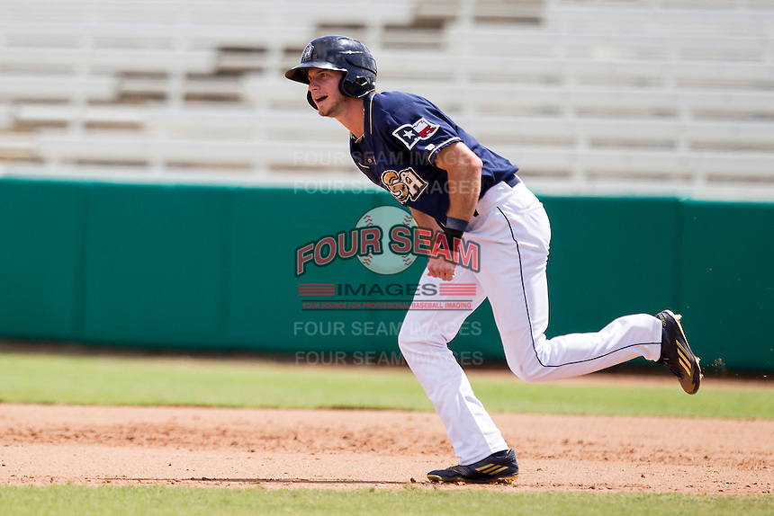 San Antonio Missions outfielder Travis Jankowski (6) runs to second base during the Texas League baseball game against the Midland RockHounds on June 28, 2015 at Nelson Wolff Stadium in San Antonio, Texas. The Missions defeated the RockHounds 7-2. (Andrew Woolley/Four Seam Images)