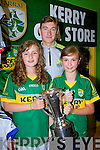 Caoimhe Sweeney and Shauna Jarvis Glenbeigh meet their hero James O'Donoghue at the Kerry GAA kit launch in the Kerry GAA store on Saturday