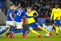 4th March 2020; King Power Stadium, Leicester, Midlands, England; English FA Cup Football, Leicester City versus Birmingham City; Kristian Pedersen of Birmingham City attempts to shoot under pressure from Jonny Evans and Ricardo Pereira of Leicester City