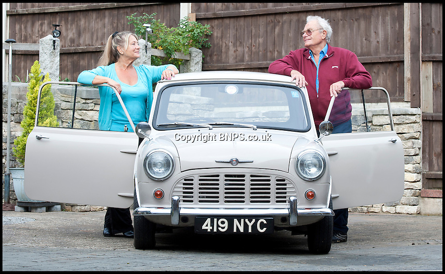 BNPS.co.uk (01202) 558833<br /> Picture: LauraJones/BNPS<br /> <br /> Owners of the Mini pickup truck Margaret and Fred Gould at their home in Broadstone, Poole, Dorset.<br /> <br /> A classic Mini pickup truck is being sold for only the second time in its life with a pre-sale estimate of &pound;13,000.<br /> <br /> The 1961 open back vehicle has been owned by the same family since its was bought new by farmer Minnie Gould who used it to transport calves to market. <br /> <br /> It was given a new lease of life 30 years later by her son Fred who had it recommissioned and resprayed.