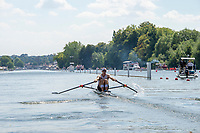 "Henley on Thames, United Kingdom, 3rd July 2018, Saturday,  ""Henley Royal Regatta"",  ""Diamond Sculls"" Challenge, NZL M1X Mahe DRYSDALE,  Henley Reach, River Thames, Thames Valley, England, UK."