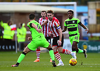 Lincoln City's Lee Frecklington vies for possession with  Forest Green Rovers' Lloyd James<br /> <br /> Photographer Andrew Vaughan/CameraSport<br /> <br /> The EFL Sky Bet League Two - Lincoln City v Forest Green Rovers - Saturday 3rd November 2018 - Sincil Bank - Lincoln<br /> <br /> World Copyright &copy; 2018 CameraSport. All rights reserved. 43 Linden Ave. Countesthorpe. Leicester. England. LE8 5PG - Tel: +44 (0) 116 277 4147 - admin@camerasport.com - www.camerasport.com