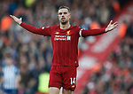 Jordan Henderson of Liverpool reacts during the Premier League match at Anfield, Liverpool. Picture date: 30th November 2019. Picture credit should read: Simon Bellis/Sportimage