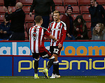 Harry Chapman of Sheffield Utd celebrates his hat trick goal during the Emirates FA Cup Round One match at Bramall Lane Stadium, Sheffield. Picture date: November 6th, 2016. Pic Simon Bellis/Sportimage