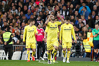 Players Villareal celebrating goal of Gerard
