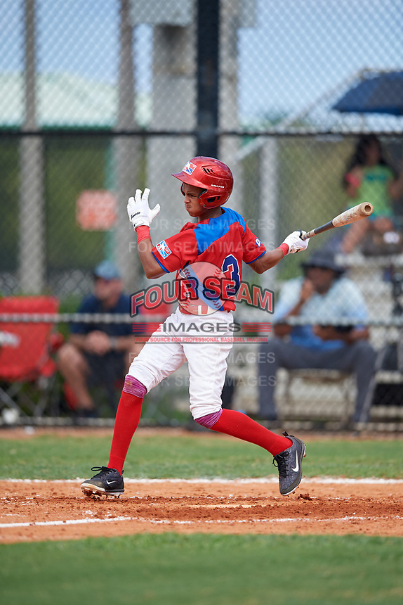 Harlin Uceta (3) during the Dominican Prospect League Elite Florida Event at Pompano Beach Baseball Park on October 14, 2019 in Pompano beach, Florida.  (Mike Janes/Four Seam Images)