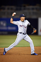 Lakeland Flying Tigers shortstop David Gonzalez (1) throws to first base during a game against the Tampa Yankees on April 7, 2017 at George M. Steinbrenner Field in Tampa, Florida.  Lakeland defeated Tampa 5-0.  (Mike Janes/Four Seam Images)