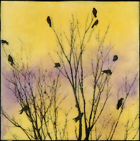 Photography over encaustic painting of birds in tree.