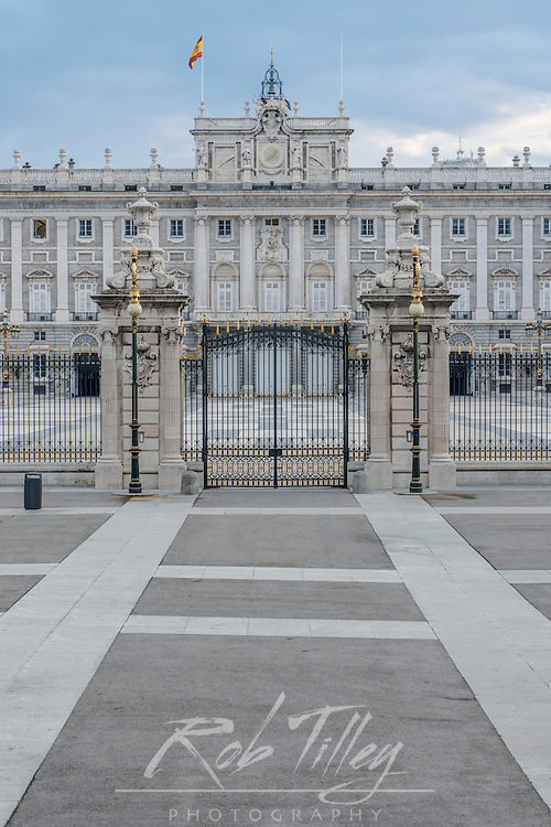 Spain, Madrid, Royal Palace (Palacio Real de Madrid) Gate