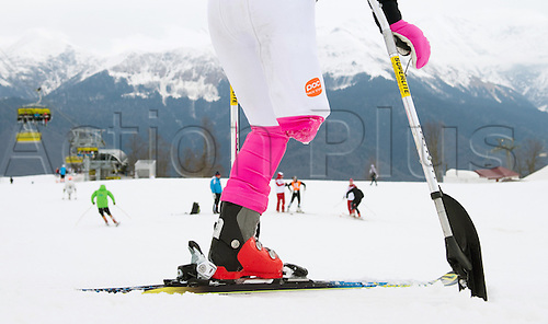 07.03.2014. Sochi, Russia.  A paralympic athlete with one leg stands at the top of the slope during an unofficial training session in Rosa Khutor Alpine Center at the Sochi 2014 Paralympic Winter Games, Krasnaya Polyana, Russia, 07 March 2014.