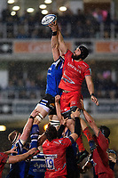 Bryn Evans of Sale Sharks wins the ball at a lineout. Gallagher Premiership match, between Bath Rugby and Sale Sharks on December 2, 2018 at the Recreation Ground in Bath, England. Photo by: Patrick Khachfe / Onside Images