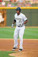Michael Taylor (45) of the Charlotte Knights takes his lead off of first base against the Gwinnett Braves at BB&T Ballpark on August 6, 2014 in Charlotte, North Carolina.  The Knights defeated the Braves  12-10.  (Brian Westerholt/Four Seam Images)