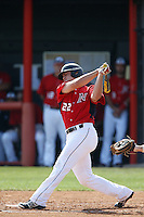 Kyle Ferramola #22 of the Cal State Northridge Matadors bats against the University of San Diego Toreros at Matador Field on March 26, 2013 in Northridge, California. (Larry Goren/Four Seam Images)
