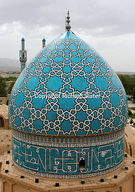 The stunning blue dome over the Aramgah-e Shah Nematollah Vali, the mausoleum, built in the early 15th century, for a well-known Sufi dervish, is one of the most recognisable images of eastern Iran.