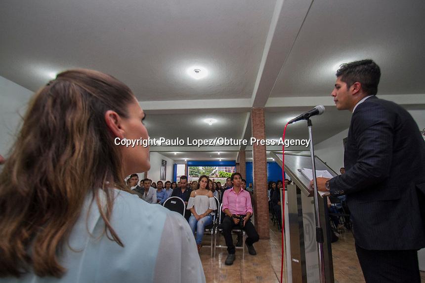 San Juan del Río.,Qro. 25 de Agosto del 2017.- Javier Duran Presidente de Acción Juvenil en el Partido Acción Nacional dio su informe de actividades al frente de este grupo de chavos.