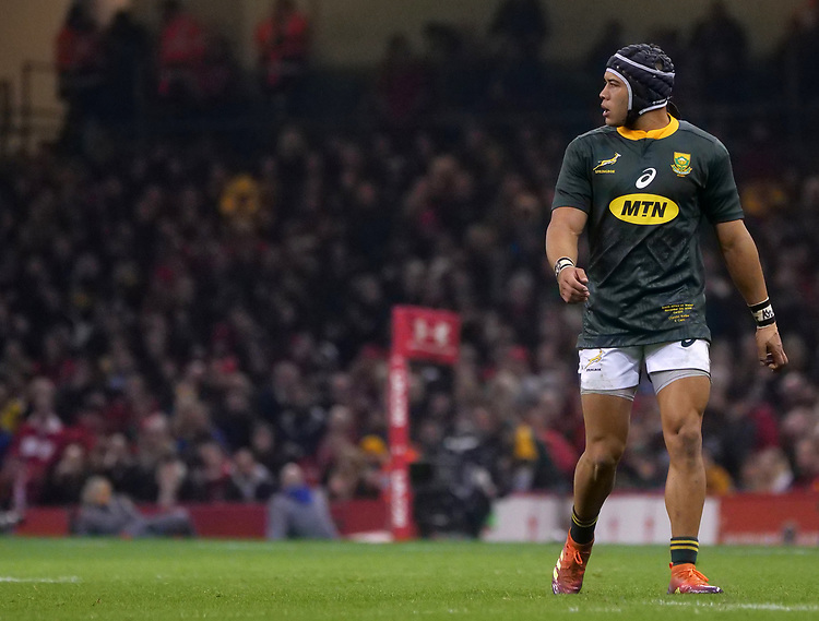South Africa's Cheslin Kolbe during the game <br /> <br /> Photographer Ian Cook/CameraSport<br /> <br /> Under Armour Series Autumn Internationals - Wales v South Africa - Saturday 24th November 2018 - Principality Stadium - Cardiff<br /> <br /> World Copyright © 2018 CameraSport. All rights reserved. 43 Linden Ave. Countesthorpe. Leicester. England. LE8 5PG - Tel: +44 (0) 116 277 4147 - admin@camerasport.com - www.camerasport.com