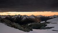 Sunset over Southern Alps viewed from  Brewster Glacier, Mt. Aspiring National Park, UNESCO World Heritage Area, West Coast, New Zealand, NZ