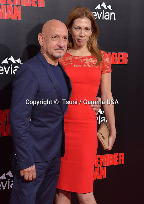 Ben Kingsley and wife   at The November Man Premiere at the TCL Chinese Theatre in Los Angeles.