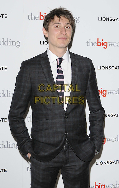 Tom Rosenthal.attended 'The Big Wedding' gala film screening, May Fair Hotel, London, England, UK, 23rd May 2013..half length  grey gray suit checked tartan plaid tie striped pink white shirt hands in pockets .CAP/CAN.©Can Nguyen/Capital Pictures.