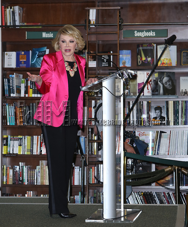 """Joan Rivers visits Barnes & Noble Union Square to promote her latest book, """"Diary of a Mad Diva""""  on June 30, 2014 in New York City."""