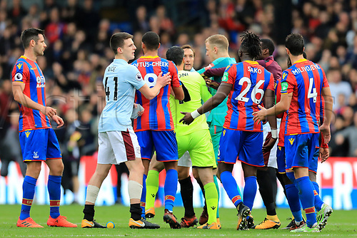 28th October 2017, Selhurst Park, London, England; EPL Premier League football, Crystal Palace versus West Ham United; Mark Noble of West Ham United is held back by Joe Hart as he wants to confront Bakary Sako of Crystal Palace
