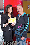 Tady Moriarty winner of the  ?1,000 shopping giveaway prize from Garvey's Suprevalu and Kerry's Eye Newspaper being presented with his prize on Tuesday, from Sandra Lynch, Garvey's Tralee.