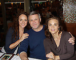 """Melissa Errico & Guiding Light Ron Raines """"Alan Spaulding"""" and stars in Follies poses with GL Gina Tognoni & OLTL (Melissa and Ron have performed together) at the autograph table at the 25th Annual Broadway Flea Market & Grand Auction to benefit Broadway Cares/Equity Fights Aids on September 25, 2011 in New York CIty, New York.  (Photo by Sue Coflin/Max Photos)"""