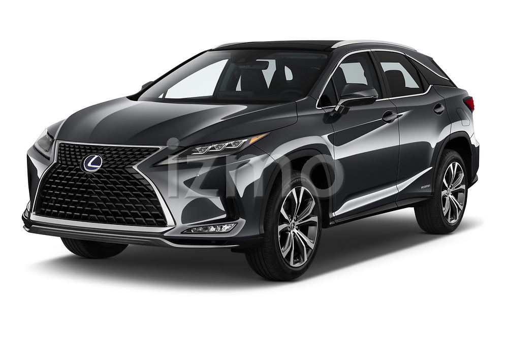 2020 Lexus RX Hybrid 450h 5 Door SUV angular front stock photos of front three quarter view