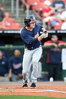 Gwinnett Braves second baseman Philip Gosselin (8) looks to lay down a bunt during a game against the Buffalo Bisons on May 13, 2014 at Coca-Cola Field in Buffalo, New  York.  Gwinnett defeated Buffalo 3-2.  (Mike Janes/Four Seam Images)