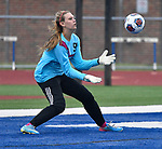 Roxana goalkeeper Braeden Lackey catches a shot on goal in the second half. Roxana High School played a girls soccer game at Freeburg High School on Thursday May 3, 2018. Tim Vizer | Special to STLhighschoolsports.com