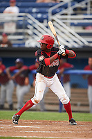 Batavia Muckdogs shortstop Anfernee Seymour (3) at bat during a game against the Mahoning Valley Scrappers on June 22, 2015 at Dwyer Stadium in Batavia, New York.  Mahoning Valley defeated Batavia 15-11.  (Mike Janes/Four Seam Images)