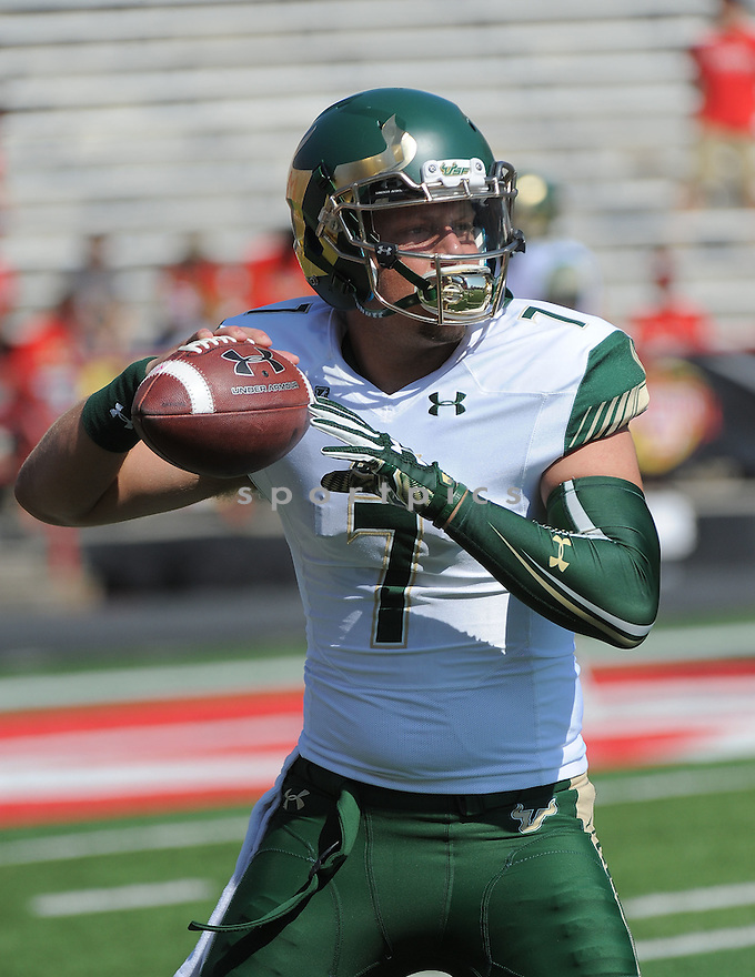 South Florida Bulls Brett Kean (7) during a game against the Maryland Terrapins on September 19, 2015 at Byrd Stadium in College Park, MD. Maryland beat South Florida 35-17.