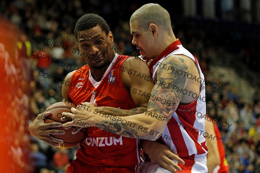 James White (L) i Maik Zirbes (D)  Crvena Zvezda - Cedevita kosarka ABA regionalna liga 4.1.1016. Januar 4. 2016. (credit image & photo: Pedja Milosavljevic / STARSPORT)