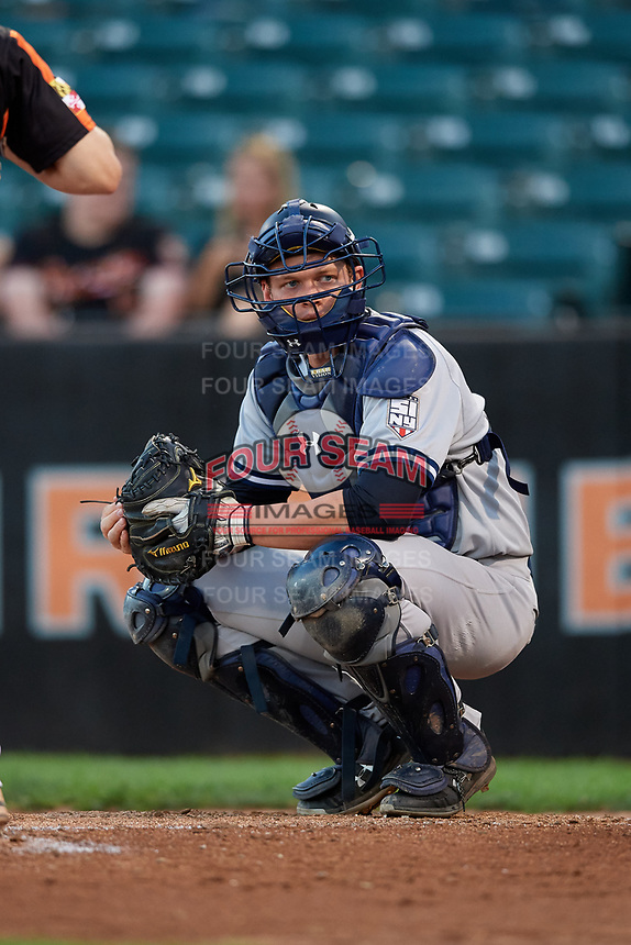 Staten Island Yankees catcher Josh Breaux (28) looks into the dugout during a game against the Aberdeen IronBirds on August 23, 2018 at Leidos Field at Ripken Stadium in Aberdeen, Maryland.  Aberdeen defeated Staten Island 6-2.  (Mike Janes/Four Seam Images)