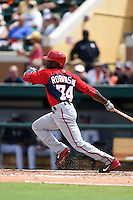 Washington Nationals Derrick Robinson (74) during a Spring Training game against the Detroit Tigers on March 22, 2015 at Joker Marchant Stadium in Lakeland, Florida.  The game ended in a 7-7 tie.  (Mike Janes/Four Seam Images)