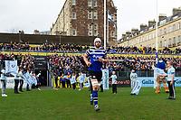 Dave Attwood of Bath Rugby runs onto the field to commemorate his 150th appearance for the club the previous weekend. Gallagher Premiership match, between Bath Rugby and Harlequins on March 2, 2019 at the Recreation Ground in Bath, England. Photo by: Patrick Khachfe / Onside Images