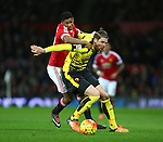 Marcus Rashford of Manchester United battles Sebastian Prodl of Watford - Barclay's Premier League - Manchester United vs Watford - Old Trafford - Manchester - 02/03/2016 Pic Philip Oldham/SportImage