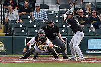 Jupiter Hammerheads outfielder Austin Dean (3) at bat in front of catcher Reese McGuire and umpire Dave Attridge  during a game against the Bradenton Marauders on April 18, 2015 at McKechnie Field in Bradenton, Florida.  Bradenton defeated Jupiter 4-1.  (Mike Janes/Four Seam Images)