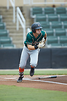 Kyle Mottice (5) of the Greensboro Grasshoppers starts down the first base line against the Kannapolis Intimidators at Kannapolis Intimidators Stadium on July 9, 2019 in Kannapolis, North Carolina. The Grasshoppers defeated the Intimidators 5-4. (Brian Westerholt/Four Seam Images)