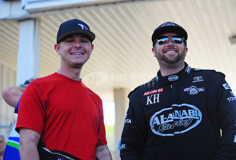 May 6, 2012; Commerce, GA, USA: NHRA top fuel dragster driver Steve Torrence (left) with Shawn Langdon during the Southern Nationals at Atlanta Dragway. Mandatory Credit: Mark J. Rebilas-