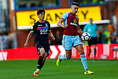 10th September 2017, Turf Moor, Burnley, England; EPL Premier League football, Burnley versus Crystal Palace; Matthew Lowton of Burnley controls the ball watched by Lee Chung-yong of Crystal Palace
