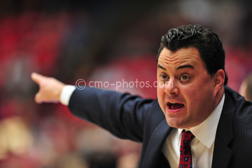 Jan 15, 2011; Tucson, AZ, USA; Arizona Wildcats head coach Sean Miller yells at an official in the 1st half of a game against the Arizona State Sun Devils at the McKale Center.