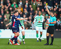 1st December 2019; Global Energy Stadium, Dingwall, Highland, Scotland; Scottish Premiership Football, Ross County versus Celtic; Liam Fontaine of Ross County argues with referee Nick Walsh after his yellow card - Editorial Use