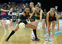 02.08.2017 Silver Ferns Maria Tutaia (C) and South Africa's Karla Mostert (2nd R) in action during a netball match between the Silver Ferns and South Africa at the Brisbane Entertainment Centre in Brisbane Australia. Mandatory Photo Credit ©Michael Bradley.