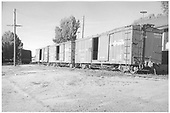 3/4 view of box cars #3291, 3486 &amp; 3855.<br /> D&amp;RGW