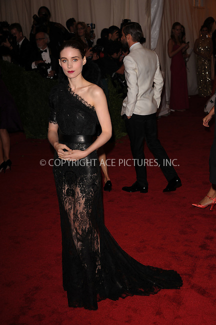 WWW.ACEPIXS.COM . . . . . ....May 7 2012, New York City....Rooney Mara arriving at the 'Schiaparelli And Prada: Impossible Conversations' Costume Institute Gala at the Metropolitan Museum of Art on May 7, 2012 in New York City.....Please byline: KRISTIN CALLAHAN - ACEPIXS.COM.. . . . . . ..Ace Pictures, Inc:  ..(212) 243-8787 or (646) 679 0430..e-mail: picturedesk@acepixs.com..web: http://www.acepixs.com