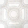 Augustus, a handmade mosaic shown in honed Thassos, tumbled Thassos and Shell, is part of the Parterre Collection by Paul Schatz for New Ravenna.