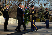 United States President Barack Obama (front C), Vice President Joe Biden (back C), Major General Michael S. Linnington (L), Commander of the US Army Military District of Washington, and Sergeant First Class Chad E. Stackpole (2-R), participate in a wreath-laying ceremony at the Tomb of the Unknown Soldier in Arlington National Cemetery, Arlington, Virginia, USA, 20 January 2013..Credit: Michael Reynolds / Pool via CNP