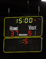 The scoreboard at the final whistle during the ANZ Netball Championship match between the Waikato Bay of Plenty Magic and Adelaide Thunderbirds, Mystery Creek Events Centre, Hamilton, New Zealand on Sunday 19 July 2009. Photo: Dave Lintott / lintottphoto.co.nz